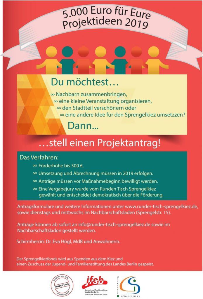 Sprengelkiezfonds Projektaufruf 2019 - Flyer