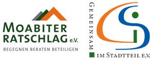 Logos des Moabiter Ratschlages und von Gemeinsam im Stadtteil e.V.