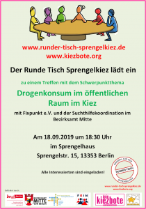 Einladungsplakat Runder Tisch Sprengelkiez 18.09.19