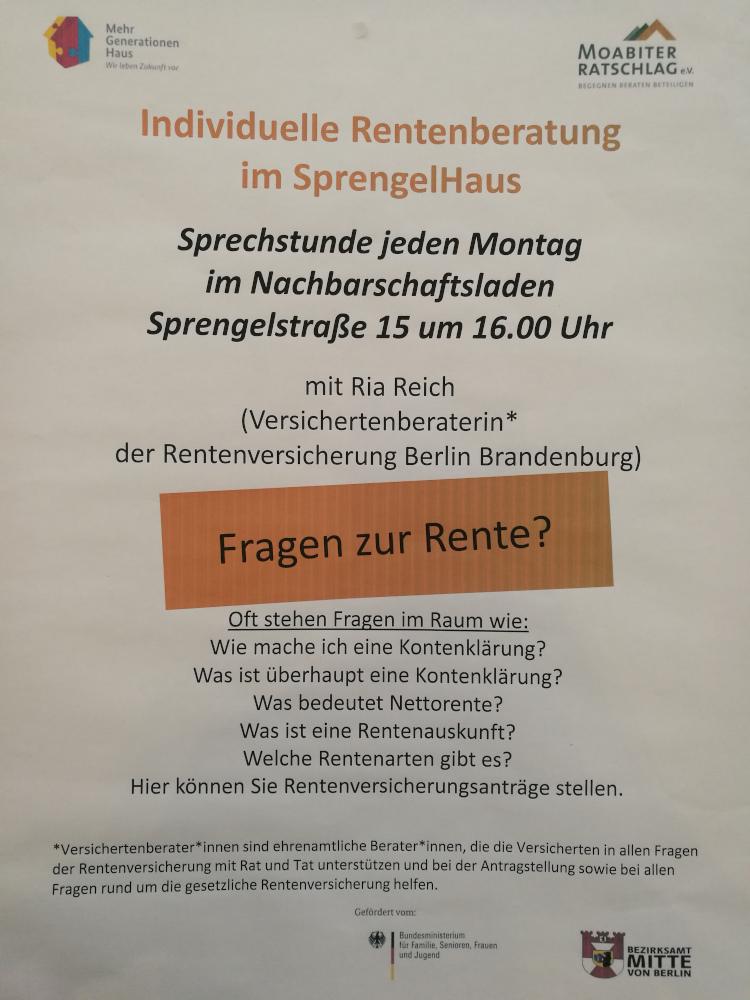 Plakat zur Rentenberatung im SprengelHaus