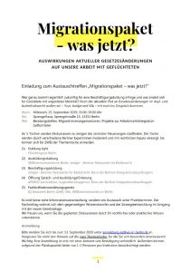 Screenshot Einladungsflyer Migrationspaket