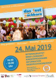 Plakat mit Foto Nachbarschaftsfest Mai 2019