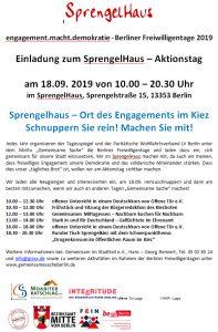Plakat der Berliner Freiwilligentage - Schnuppertag im SprengelHaus